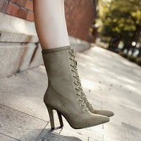 New Women Apricot Point Toe Stiletto Fashion Mid-Calf Boots