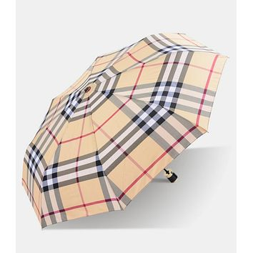 Popular Women Men Creative Classic Grid Print Folding Umbrella Beige