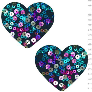 Heart Pasties in Party Monster Sequin