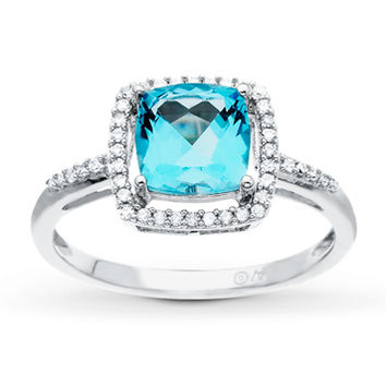 Blue Topaz Ring 1/8 ct tw Diamonds 10K White Gold