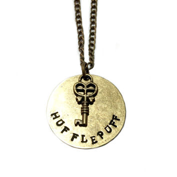 Hufflepuff Metal-stamped Key Necklace