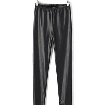 Black Elastic Waist Faux Leather Trousers