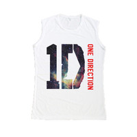1D ONE DIRECTION Galaxy Tank Top T Shirt White Women Muscle Tee Shirts Size S M L
