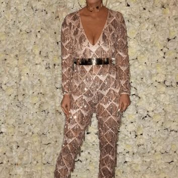 Red Carpet Long Sleeve Sequin Jumpsuit