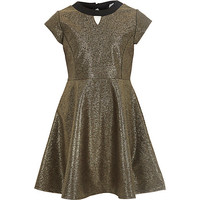 River Island Girls gold skater dress