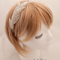 The Helen - silver goddess headband, silver leaf headband, champagne head piece, beaded leaves hair, silver wedding hair, goddess costume