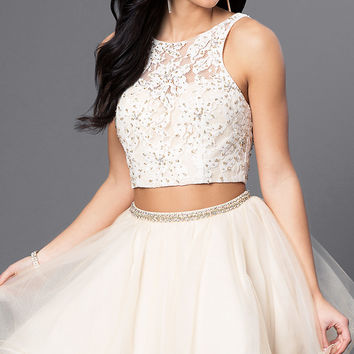 Embellished Lace Two-Piece Tulle Dress