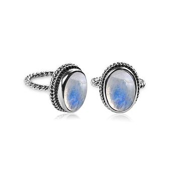 "AR-6090-RM-7"" Sterling Silver Ring With Rainbow Moonstone"