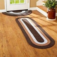 Brown 2 Pc Nonskid Braided Slice Rug & Runner Set Door Entry Hallway Home Decor