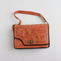 Vintage Floral Tooled Leather Purse -  Retro 1960s Brown Leather Bag Mexico / Hand Tooled Flowers