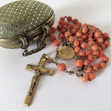 Antique French, Brass, Egg Shaped, Chained Box, With Coral And Vermeil, Rosary, Penin