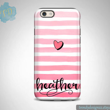 iPhone case, Personalized iPhone case, iPhone 6 6s case iPhone 6 plus 5C Samsung S6 Edge S5 S4 case, Pink Watercolor Stripes Pink Heart (20)