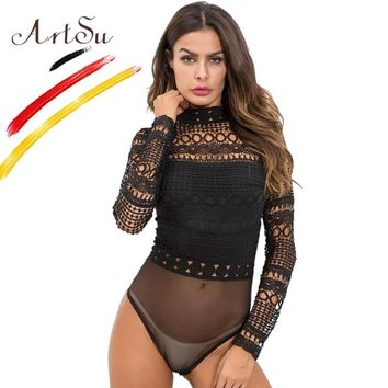 ArtSu Sexy Black White Lace Mesh Crochet Bodysuit Womens Hollow Out Turtleneck Long Sleeve Body Combinaison Femme Winter Tops