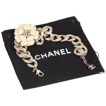 CHANEL Gold metal Chunky Chain CAMELLIA Camelia NECKLACE Chocker