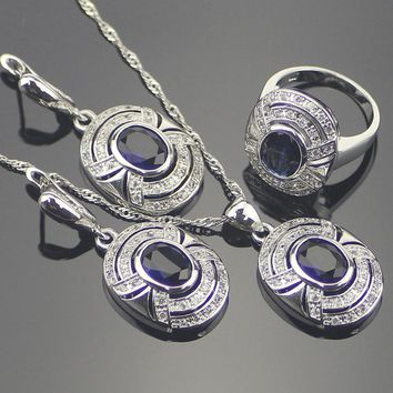 Wedding Blue Zircon Silver 925 Bridal Jewelry Sets Women Pendants & Necklaces Rings Set Earrings With Stones Jewelery Gift Box