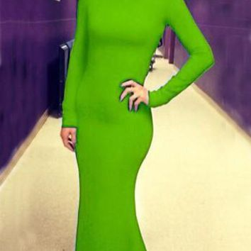 Kelly Green Cut Out Backless Mermaid Bodycon Banquet Elegant Party Maxi Dress