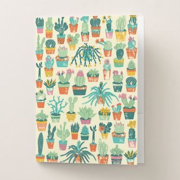 Colorful Cactus Flower Pattern Pocket Folder