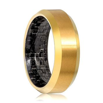 Aydins Gold Tungsten Ring High Polished Wedding Band with Carbon Fiber Inlay 8mm Tungsten Carbide Wedding Ring