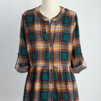 Creative Career Conference Top in Teal Plaid