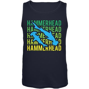 Hammerhead Shark Stacked Repeat Mens Tank Top