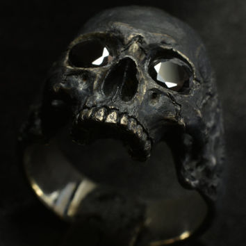 Into The Fire Jewelry - Skull ring Mid size half jaw with black gemstones silver mens skull biker masonic gothic jewelry .925 etsy