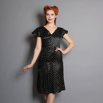 40s POLKA Dot SILK DRESS / Ruffle Detail, Butterfly Sleeves & Pleats, m
