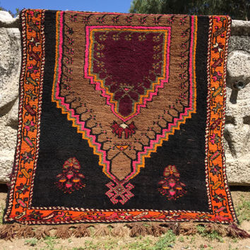 Vintage Orange And Brown small size unique all wool anatolian Rug, hand knotted natural wool, area Rug , small floor rug, wall hanging,