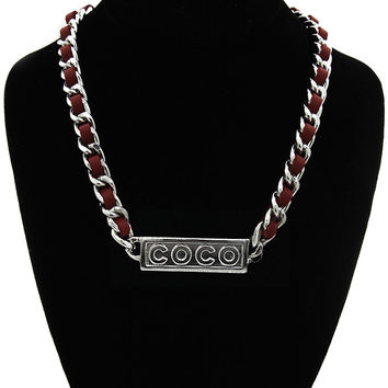 """Silver """"COCO"""" Red Faux Leather Link Chain Statement Necklace"""