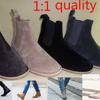 2017 new style  men men's chelsea boots leather 1:1 style  Euro37-47 Khaki/Grey/Brown/Black  Dark blue shoes