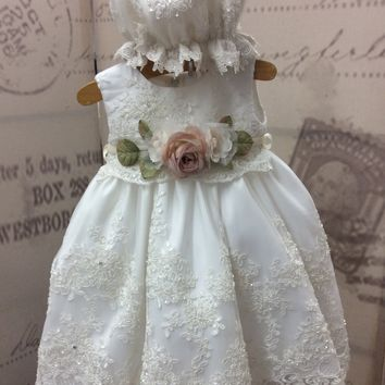 """Kissy""christening dress-baptism lace baby girl-flower girl-bridal"