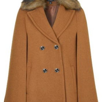 Faux Fur Collar Neat Cape - Tobacco