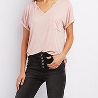 SPLIT V-NECK BOYFRIEND POCKET TEE