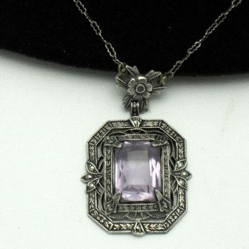 Antique ART DECO Sterling Silver Marcasite Amethyst Necklace Ornate
