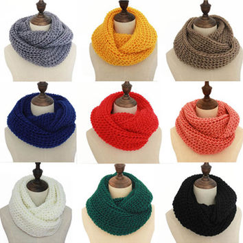 Solid Knit Funnel Scarf