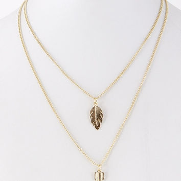 Leaf and Arrow Double Chain Necklace - Gold