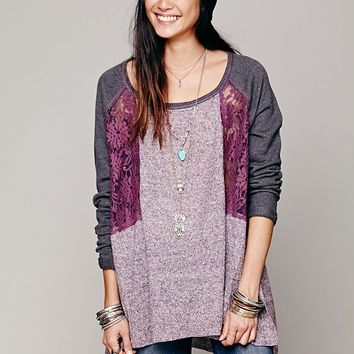Free People Colorblock Lace Inset Pullover