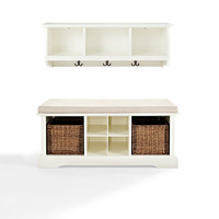 Crosley Furniture KF60001WH Brennan White Two Piece Entryway Bench and Shelf Set