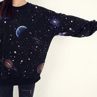 cosmic space galaxy star print sweatshirt tshirt black