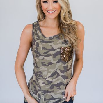 Camo Glam Pocket Tank Top