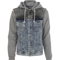River Island MensLight wash jersey sleeve denim jacket