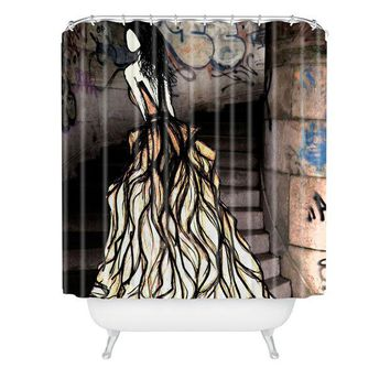 Escape fashion illustration shower curtain