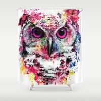 Owl Shower Curtain by RIZA PEKER