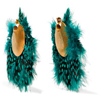 Katerina Makriyianni - Gold-plated feather earrings