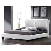 Sabrina White Modern Queen-size Bed with Overstuffed Headboard | Overstock.com