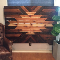 Navajo Aztec Wood Headboard **Local Pick Up Only**