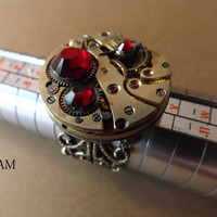 Vintage Steampunk Filigree Ring featuring Red Siam Swarovski Crystal