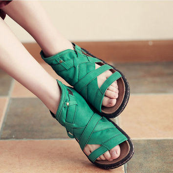 2016 NEW Open Toe Sandals Green Shoes Handmade Women's Leather Sandals, Leather Shoes, Flat Shoes, Summer Shoes Sandals