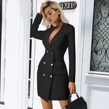 0a0ce0167f 8DESS Elegant double breasted women black dress Ladies office white blazer  dresses plus size bodycon female