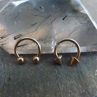 "Rose Gold Septum Nose Ring 16g Spike Piercing 5/16"" Titanium Hoop Earring Horseshoe Circular Barbell Earrings Spikes Daith Internal Helix"