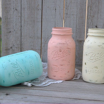 Shabby Chic Mason Jars, Mint Green, Coral, Ivory, Painted Mason Jars, Distressed, Beach Decor, Wedding Decor